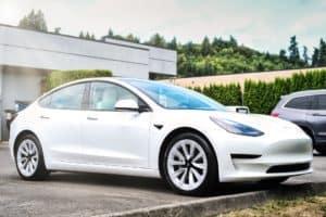 White Tesla detail center