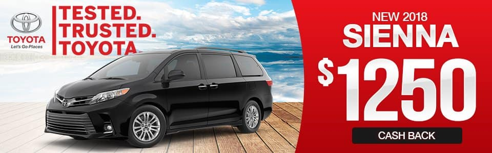 2018 Toyota Sienna Cash Back Special