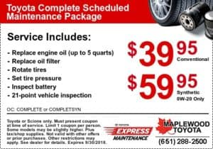 toyota service coupon oil change