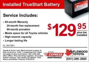 toyota coupon battery