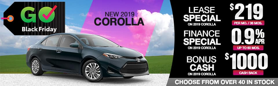 2019 Corolla Lease, Finance & Cash Back Black Friday Special