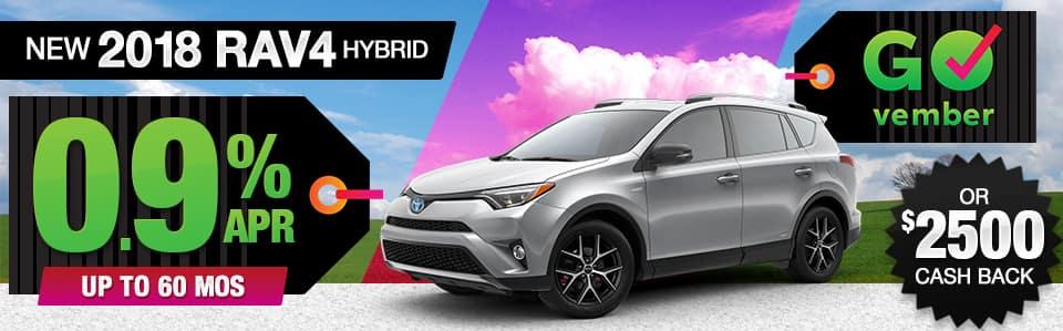 2018 Toyota RAV4 Hybrid APR or Cash Back Special