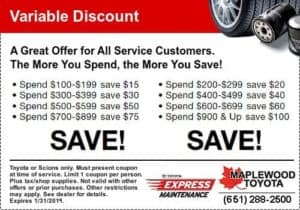 maplewood toyota service coupons