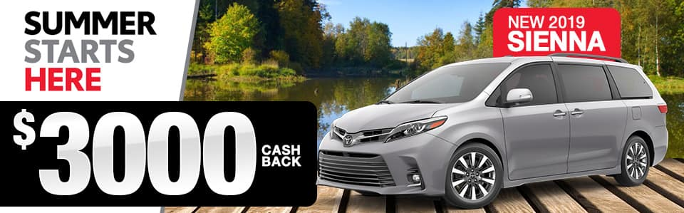 2019 Toyota Sienna Cash Back Offer