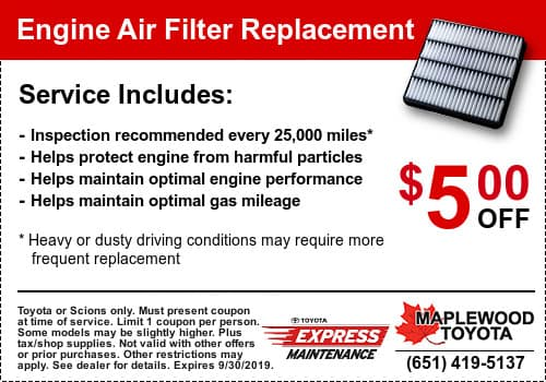 Toyota Engine Air Filter Coupon