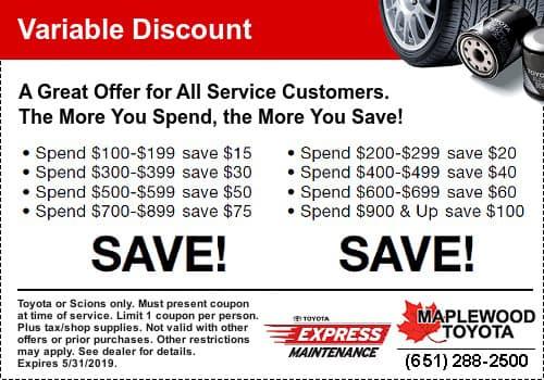 Toyota Service Coupon Savings