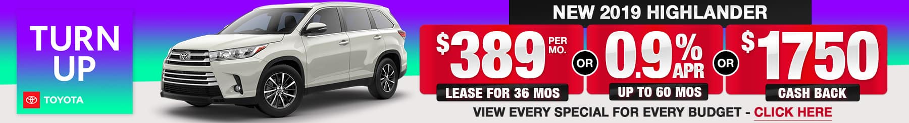 Toyota Highlander Lease Finance Specials