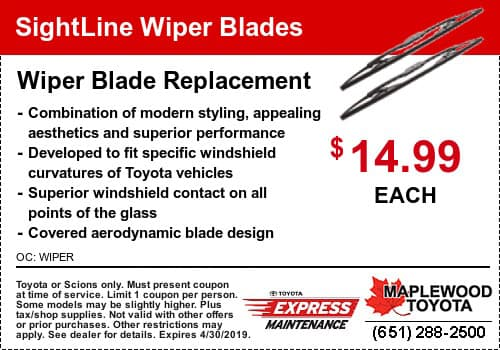 Toyota Windshield Wiper Blade Coupon