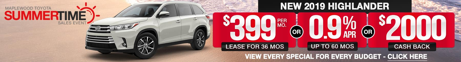 Toyota Highlander Lease or Finance Offers
