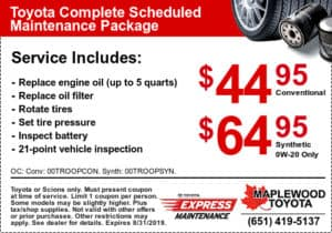Toyota Oil Change Coupon >> Toyota Service Coupons Specials Maplewood Toyota In Minneapolis
