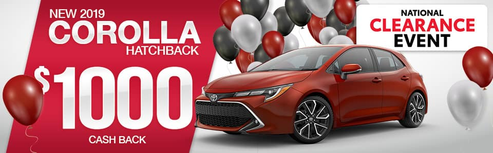 2019 Toyota Corolla Hatchback Cash Back Special