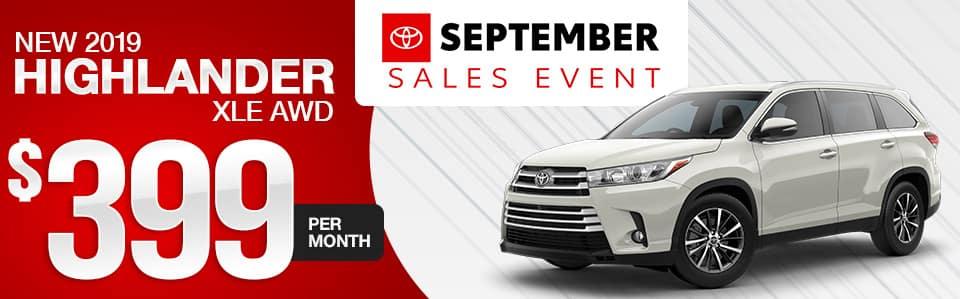 2019 Toyota Highlander Lease Special