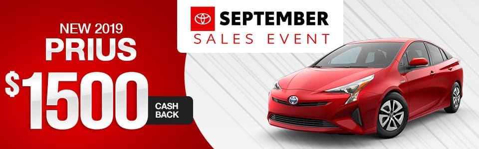 2019 Toyota Prius Cash Back Offer