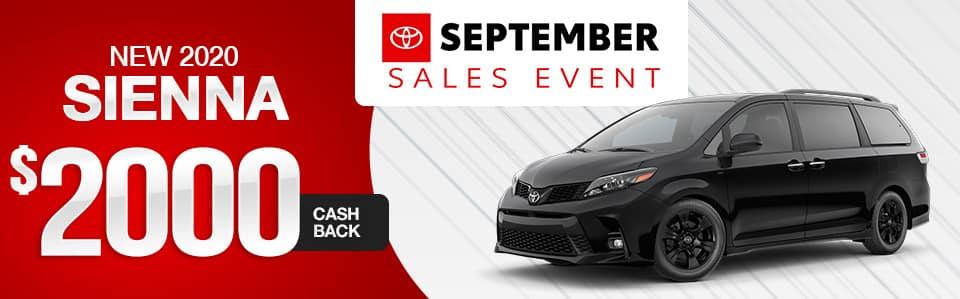 2020 Toyota Sienna Cash Back Offer