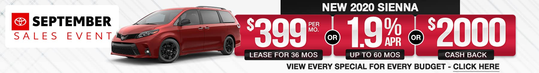 Toyota Sienna Lease Finance Offers