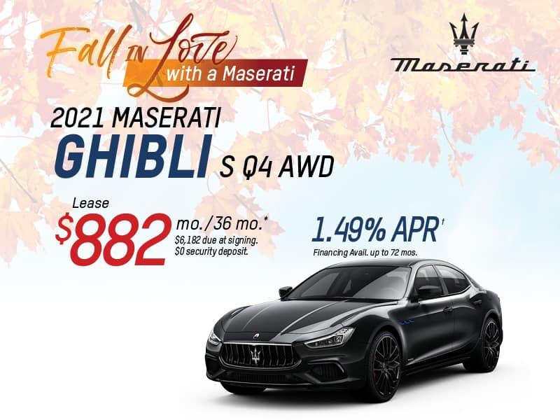 2021 Ghibli  S Q4 AWD Lease & Finance Offers