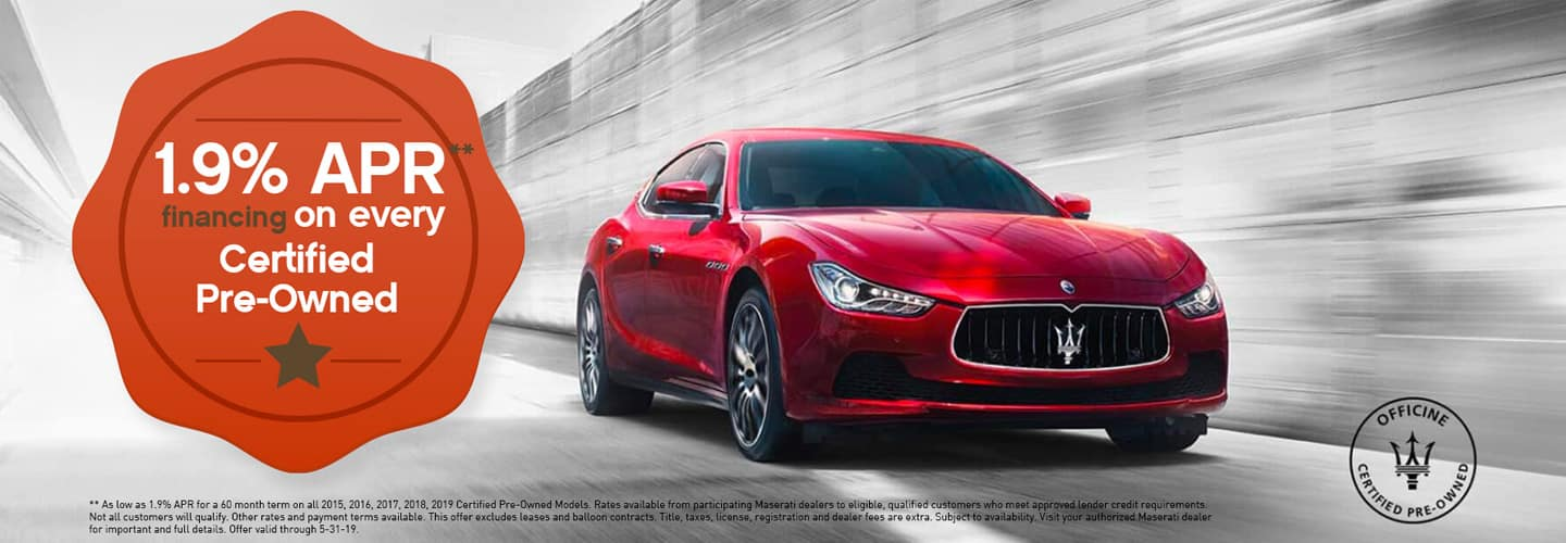 special for certified maserati vehicles