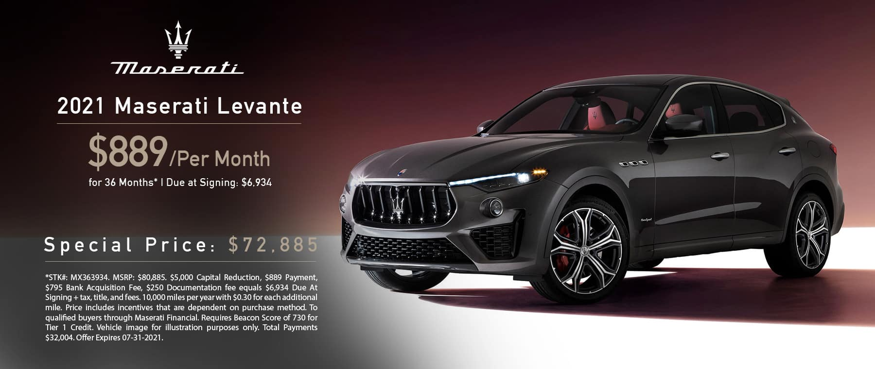 Maserati 2021 Levante Lease