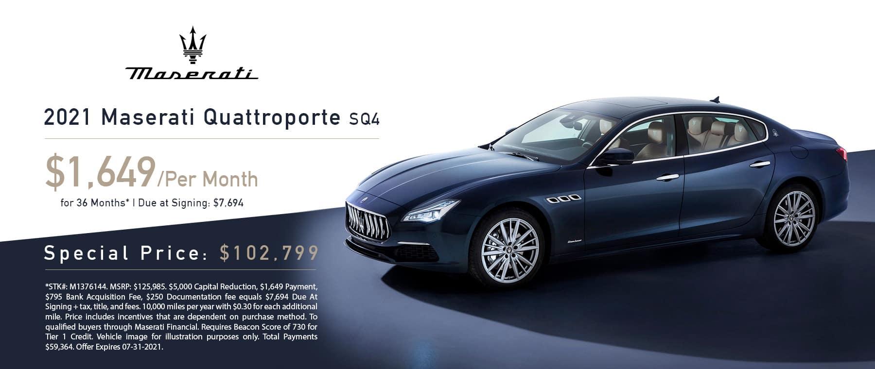Maserati Quattroporte Lease