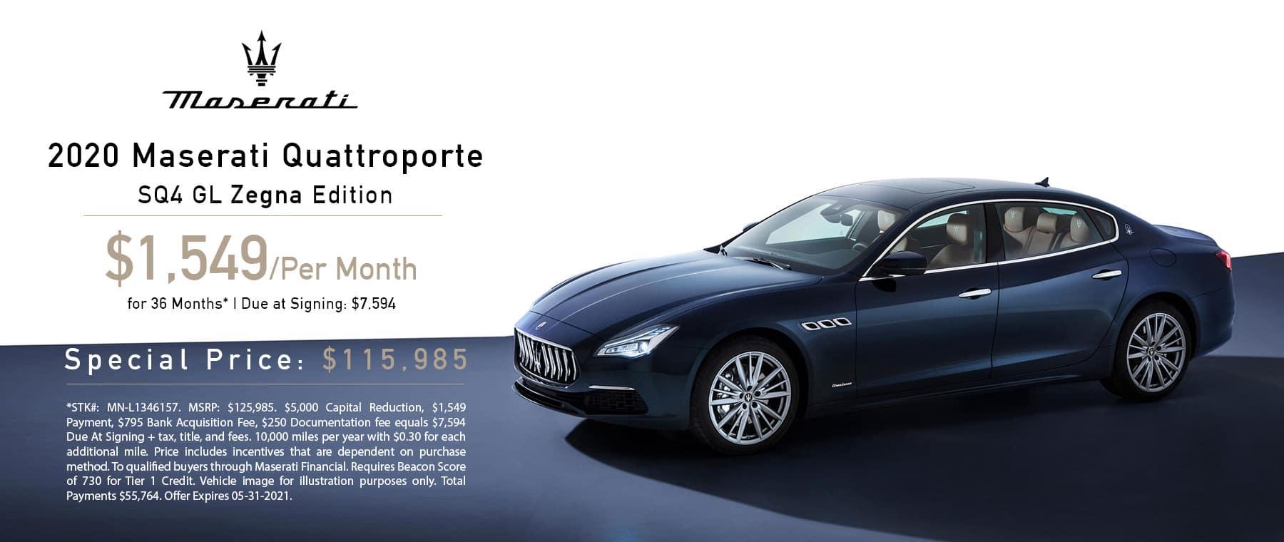 Maserati Quattroporte Zegna Edition Lease