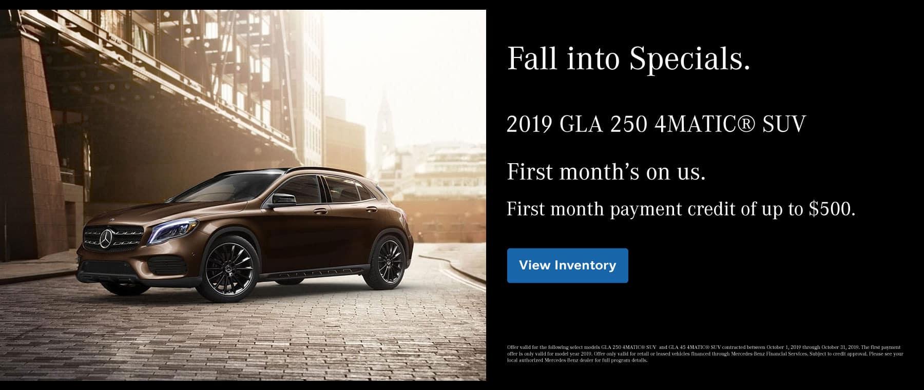 2019 GLA 250 Payment Credit