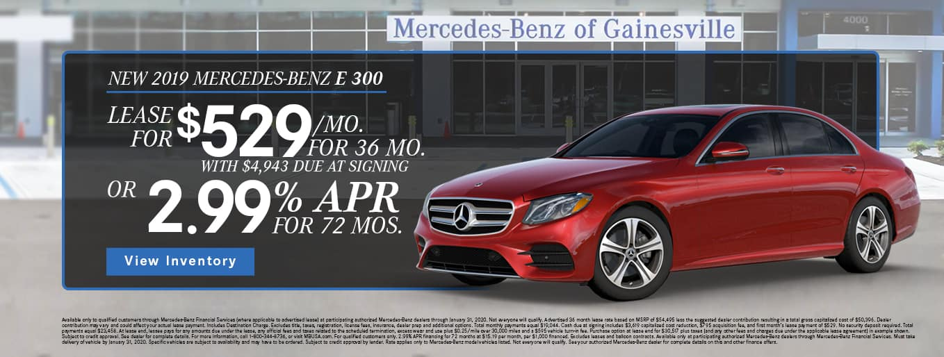 New 2019 Mercedes-Benz E 300 | Lease For $529/Mo For 36 Months With $4,943 Due At Signing OR 2.99% APR For 72 Months