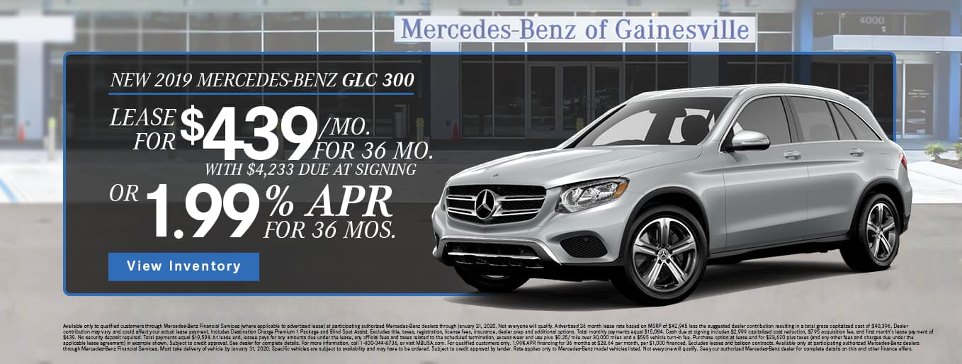 New 2019 Mercedes-Benz GLC 300 | Lease For $439/Mo For 36 Months With $4,233 Due At Signing OR 1.99% APR For 36 Months