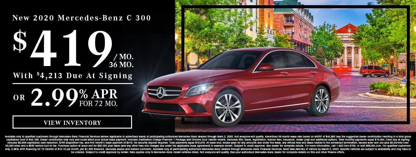 New 2020 Mercedes-Benz C 300 | $419/Mo for 36 Months With $4,213 Due At Signing OR 2.99% APR For 72 Months