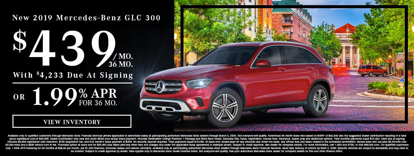 New 2019 Mercedes-Benz GLC 300 | $439/Mo for 36 Months With $4,233 Due At Signing OR 1.99% APR For 36 Months