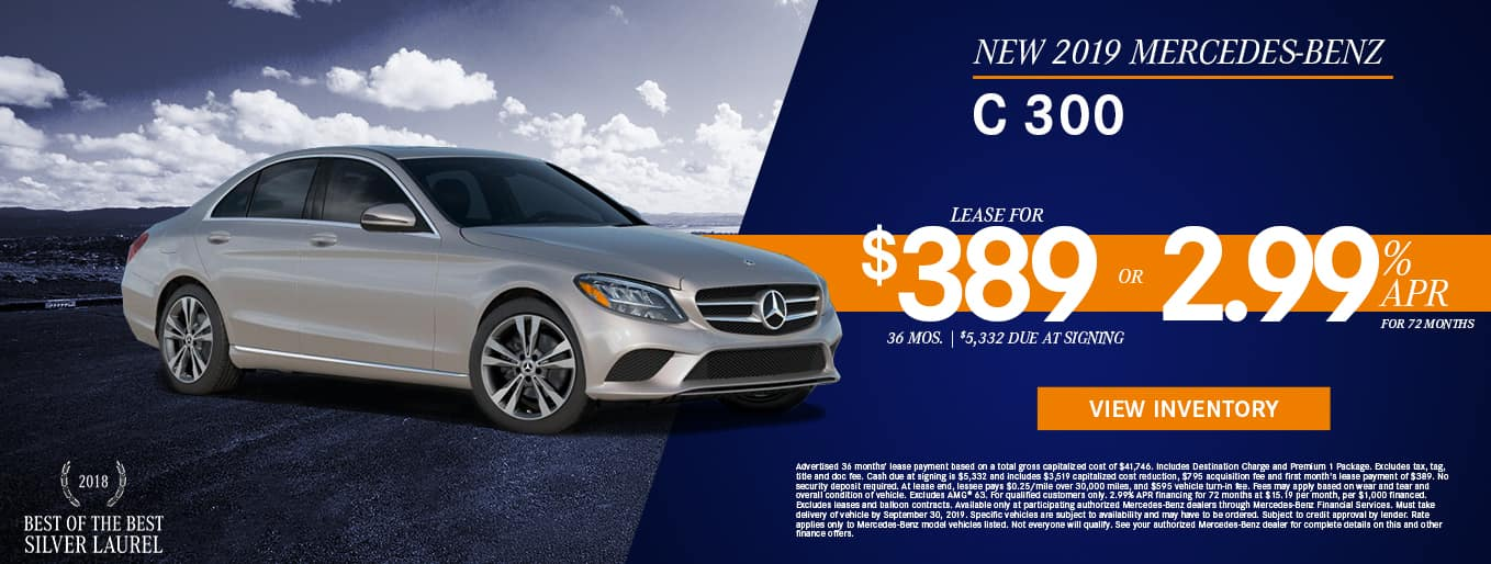 New 2019 Mercedes-Benz C 300 | 2.99% APR For 72 Months OR Lease For $389/Mo For 36 Months With $5,332 Due At Signing