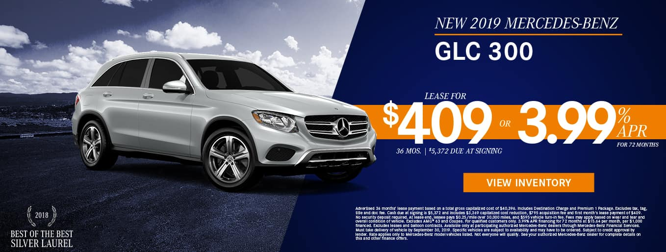 New 2019 Mercedes-Benz GLC 300 | 3.99% APR For 72 Months OR Lease For $409/Mo For 36 Months with $5,372 Due At Signing
