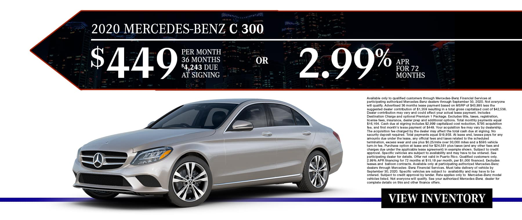 New 2020 Mercedes-Benz C 300 | $449/Mo for 36 Months With $4,243 Due At Signing OR 2.99% APR For 72 Months