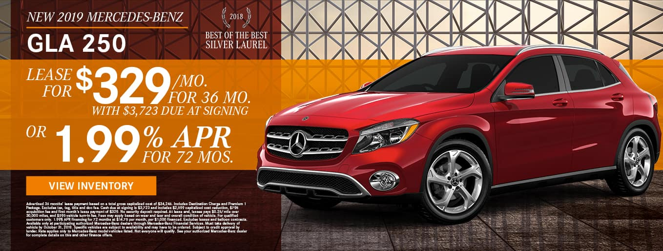 New 2019 Mercedes-Benz GLA 250 | Lease For $329/Mo For 36 Months With $3,723 Due At Signing OR 1.99% APR For 72 Months