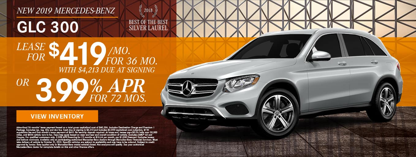 New 2019 Mercedes-Benz GLC 300 | Lease For $419/Mo For 36 Months With $4,213 Due At Signing OR 3.99% APR For 72 Months