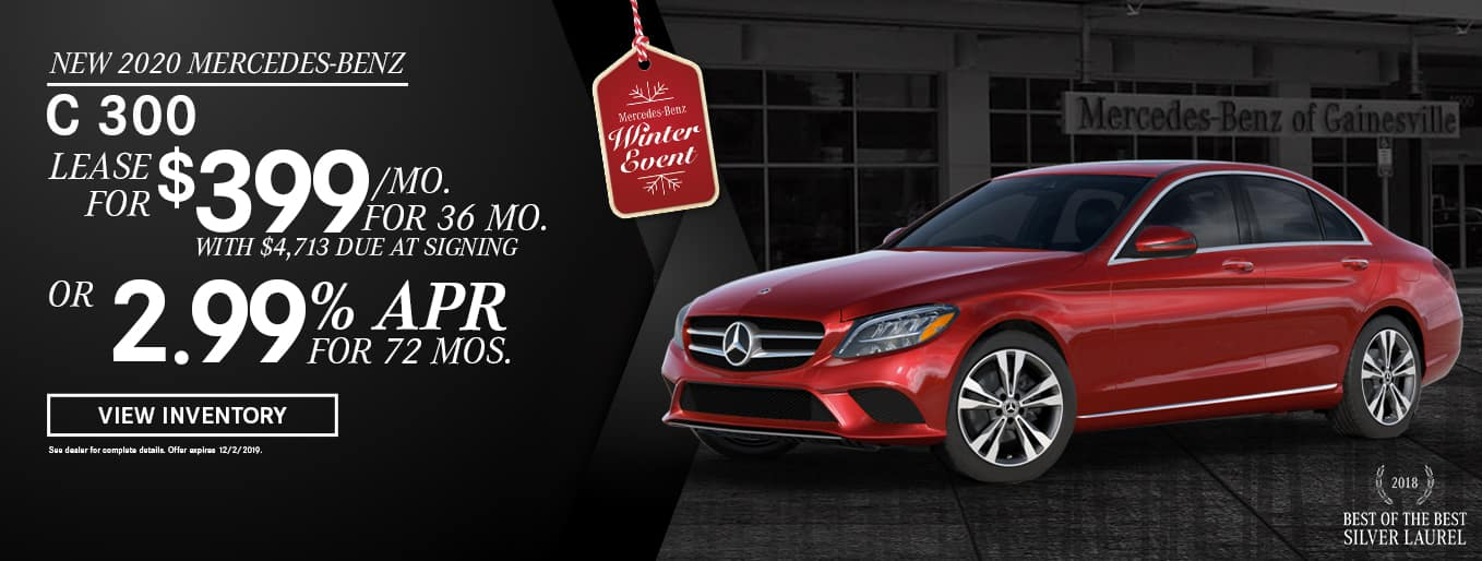 New 2020 Mercedes-Benz C 300 | Lease For $399 Per Month For 36 Months with $4,713 Due At Signing OR 2.99% APR For 72 Months | Mercedes-Benz Winter Event | 2018 Best of the Best Silver Laurel