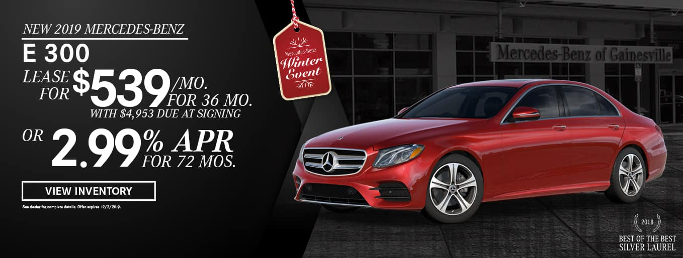New 2019 Mercedes-Benz E 300 | Lease For $539 Per Month For 36 Months With $4,953 Due At Signing OR 2.99% APR For 72 Months | Mercedes-Benz Winter Event | 2018 Best of the Best Silver Laurel