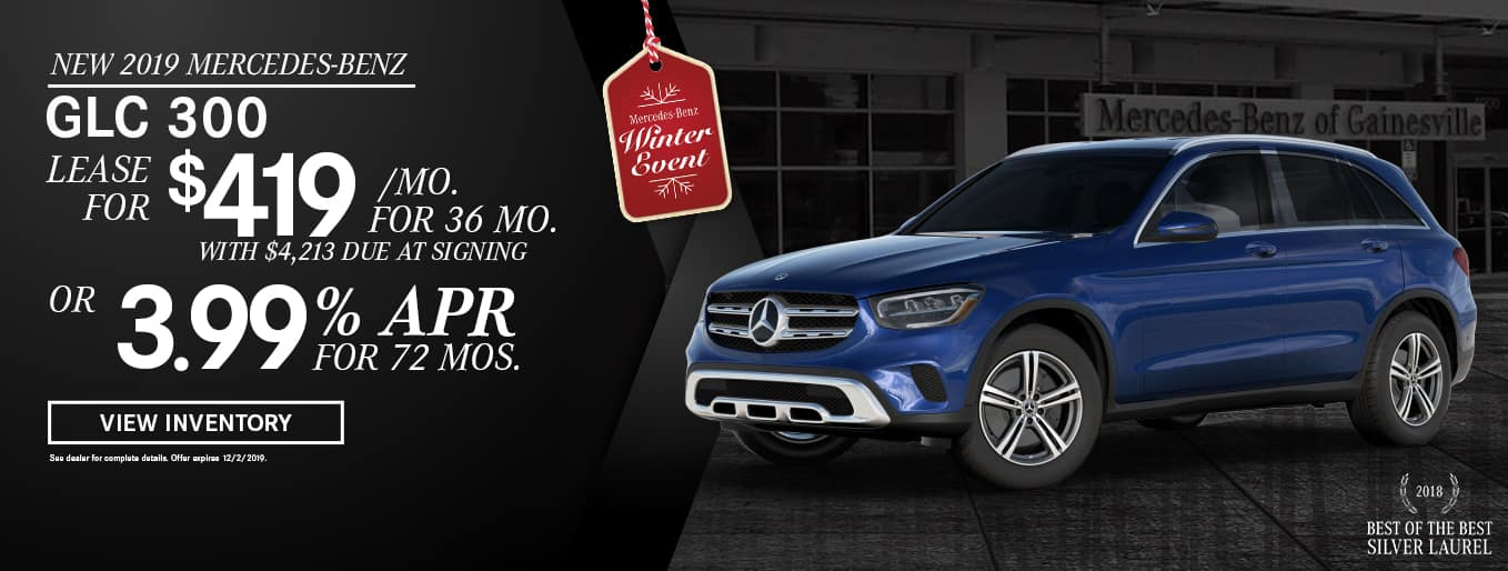 New 2019 GLC 300 | Lease For $419 Per Month With $4,213 Due At Signing OR 3.99% APR For 72 Months | Mercedes-Benz Winter Event | 2018 Best of the Best Silver Laurel