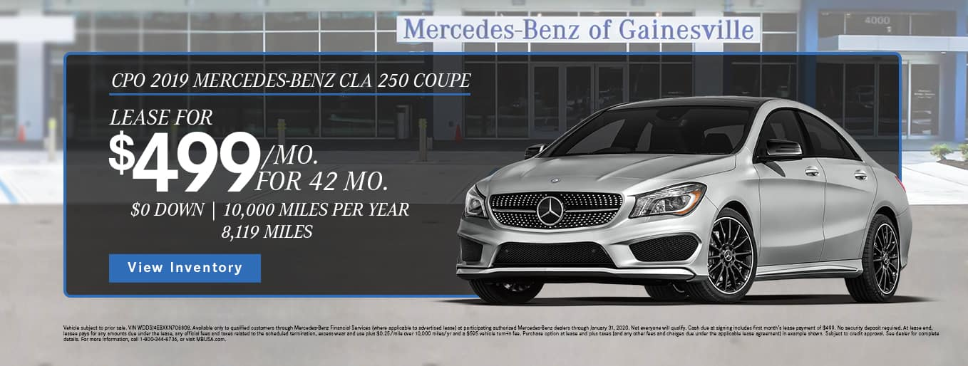 CPO 2019 Mercedes-Benz CLA 250 Coupe | Lease For $499/Mo For 42 Months With $0 Down and 10,000 Miles Per Year | 8,119 Miles