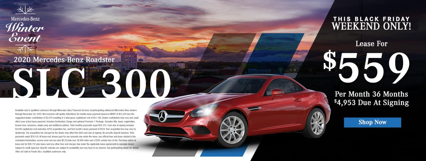 Mercedes-Benz Winter Event | 2020 Mercedes-Benz SLC 300 | Lease For $559 Per Month for 36 Months & $4,953 Due At Signing
