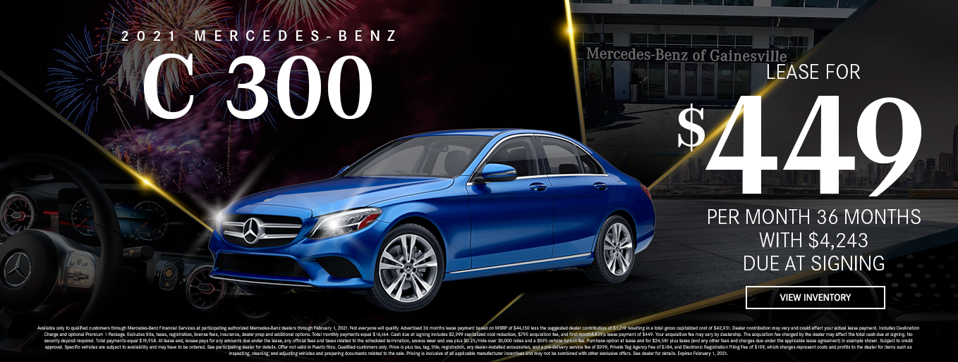 2021 Mercedes-Benz C 300 | Lease for $449 Per Month for 36 Months $4,243 Due At Signing
