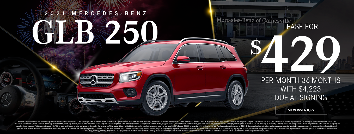 2021 Mercedes-Benz GLB 250 | Lease for $429 Per Month for 36 Months $4,223 Due At Signing