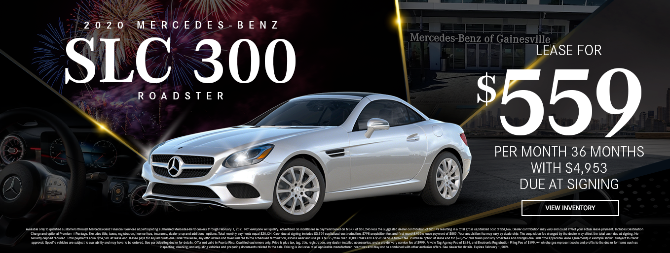 2020 Mercedes-Benz SLC 300 Roadster | Lease for $559 Per Month for 36 Months $4,953 Due At Signing