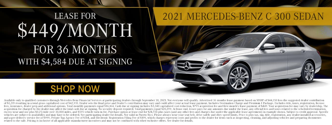 2021 Mercedes-Benz C 300 Sedan | Lease For $449/Mo for 36 Months with $4,584 Due At Signing