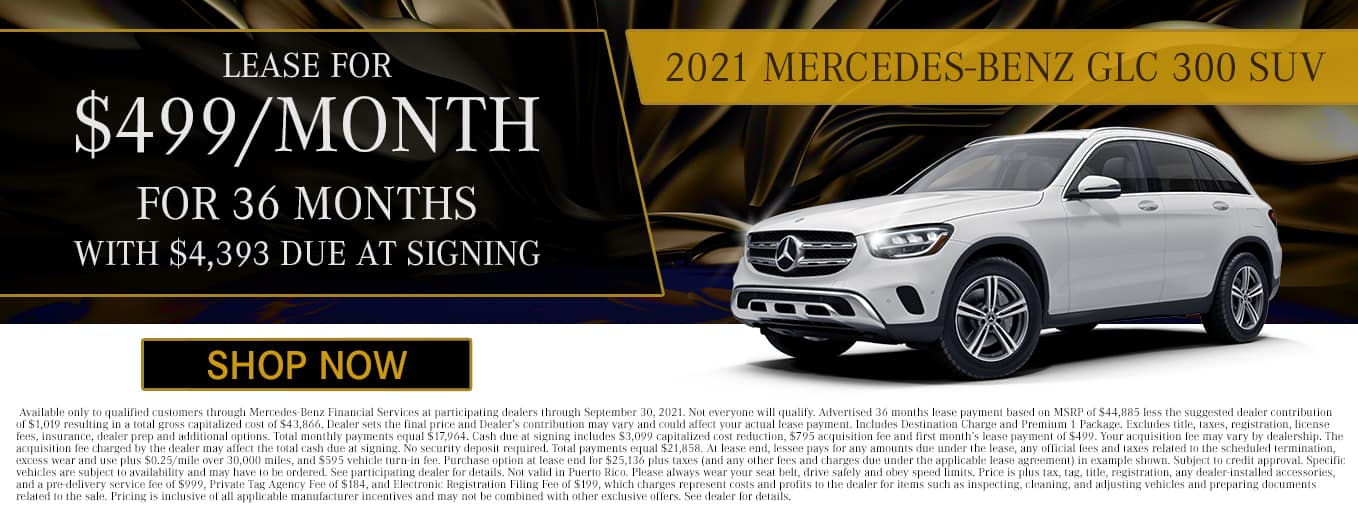 2021 Mercedes-Benz GLC 300 SUV | Lease For $499/Mo for 36 Months with $4,393 Due At Signing