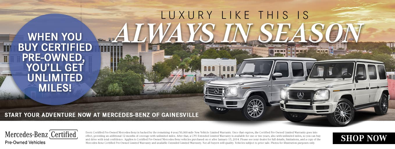 Luxury Like This Is Always In Season   When You Buy Certified Pre-Owned, You'll Get Unlimited Miles!   Start Your Adventure Now At Mercedes-Benz Of Gainesville