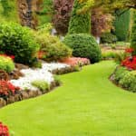 Garden grounds with green, red, and white plans and flowers