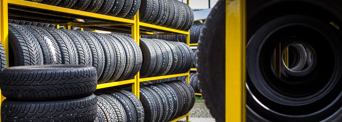 Tires Stacked Up on Shelves