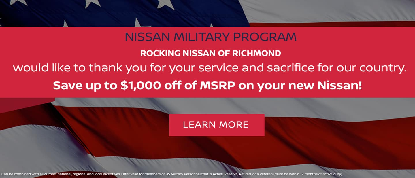 Nissan Military Program. Save up to $1,000 off of MSRP on your next Nissan.