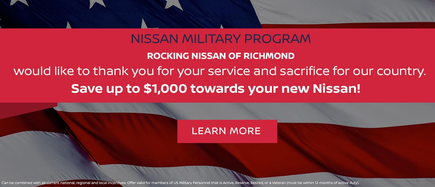 Nissan Military Program. Save up to $1,000 toward your next Nissan.