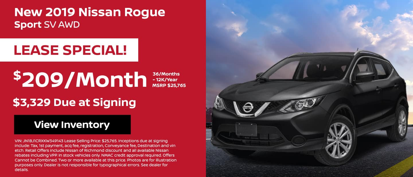 2019 Nissan Rogue Sport Lease Special